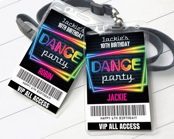 Dance Party VIP Badge, Glow Dance Party, Rock n Roll Party, All Access Pass | Self-Editing with CORJL - INSTANT Download Printable