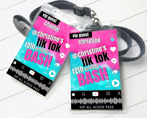 Social Media Party VIP Badge - Video Party, Dance Party, All Access Pass | Self-Edit with CORJL - INSTANT Download Printable Template