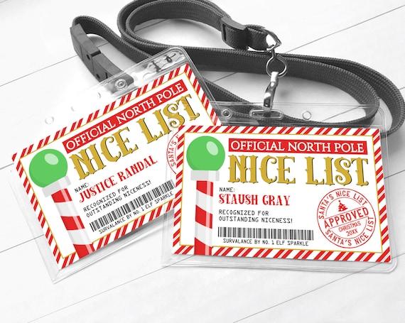 Santa's Nice List Badge - Santa's Workshop North Pole, Elf Surveillance | Self-Edit with CORJL - INSTANT Download Printable Template