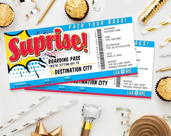 Surprise Boarding Pass Gift Voucher - Plane Ticket, Printable Certificate, Surprise Flight | Edit with CORJL - INSTANT DOWNLOAD Printable