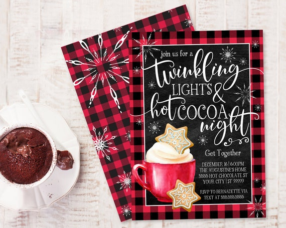 Twinkling Lights & Hot Cocoa Night Invitation - Christmas Hot Chocolate, Buffalo Plaid | Self-Edit with CORJL - INSTANT DOWNLOAD Printable