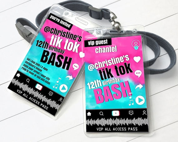 Social Media Party VIP Invite Badge - Video Party, Dance Party, All Access Pass | Self-Edit with CORJL - INSTANT Download Printable Template