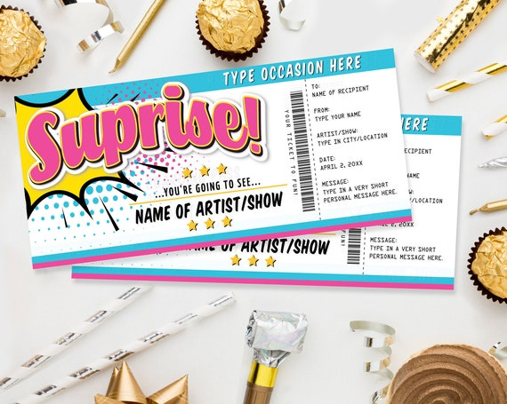 Surprise Concert Gift Ticket Printable Voucher - Show Theatre Movie Performance Artist | Edit with CORJL - INSTANT DOWNLOAD Printable