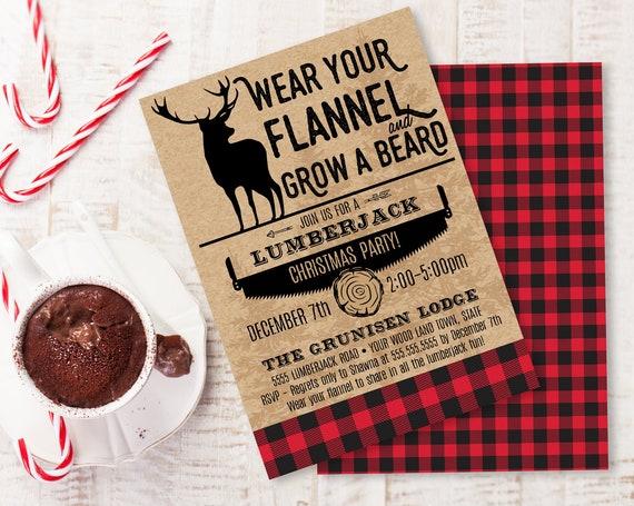 Plaid Christmas Invitation - Flannel Party,Rustic Christmas Party, Lumberjack Christmas | Self-Edit with CORJL - INSTANT DOWNLOAD Printable