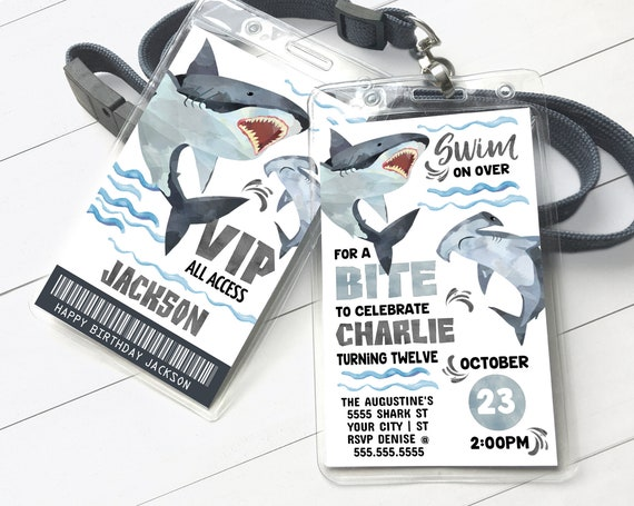 Shark Party Badge Invitation - Shark Birthday Party, Shark VIP Badge Invite | Self-Edit with CORJL - INSTANT Download Printable Template