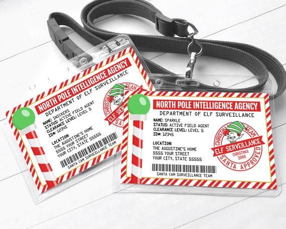 Elf ID Card - Elf Surveillance, Santa Cam Surveillance Team - Santa's North Pole Badge | Self-Edit with CORJL - INSTANT Download Printable