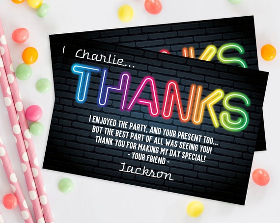 Neon Glow Party Thank You Card - Glow in the Dark Birthday, Neon Glow Birthday | Self-Edit with CORJL - INSTANT Download Printable