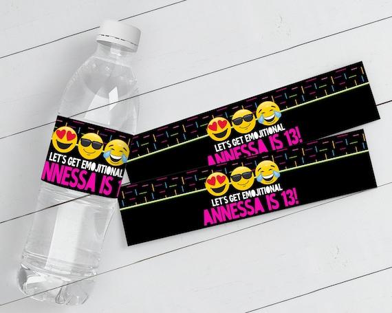 Emoji Party Water Bottle Label / Wrap - Emoji Theme Birthday Party, Emoji Party Decor | Self-Edit with CORJL - INSTANT Download Printable