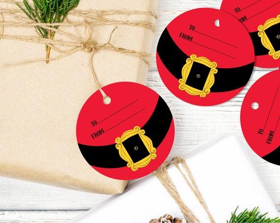 Santa Gift Tag - Santa's Belt Favor Tag, Christmas Gift Tag | Download & Print with CORJL INSTANT DOWNLOAD Printable Template