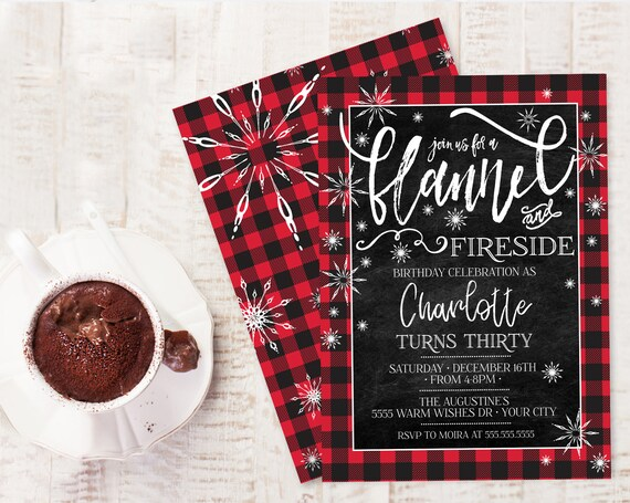Flannel & Fireside Birthday Party Invitation - Buffalo Plaid Birthday,Winter Birthday | Self-Editing with CORJL - INSTANT DOWNLOAD Printable