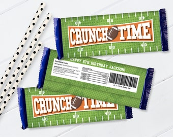 """Football """"Crunch Time"""" Candy Bar Label/Wrap - Football Birthday, Tailgate, Bowl Party   Self-Editing with CORJL - INSTANT Download Printable"""