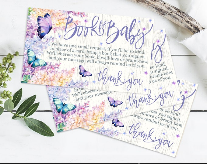 Butterfly Baby Shower, Books for the Baby, Spring,Garden Shower,Flower & Butterflies | Self-Editing with CORJL - INSTANT DOWNLOAD Printable