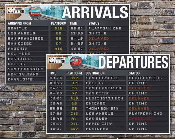 """Train Party Posters - Arrival & Departure Signs, Train Terminal Signs, Train Decor, 24""""X36"""" 