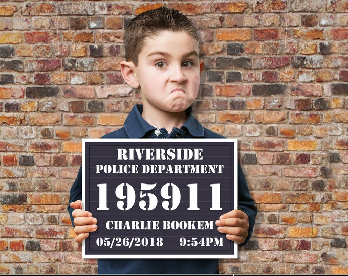 Mugshot Board - Police Slate Sign - Police Party, Cops & Robbers, Spy,Secret Agent Party | Self-Edit with CORJL - INSTANT Download Printable