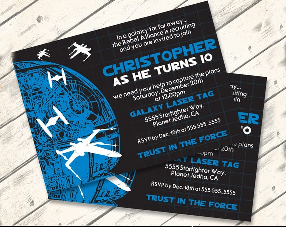 Star Wars Invitation - Star Wars Birthday, Star Wars Party, Tie-Fighter Blue   Self-Edit with CORJL - INSTANT DOWNLOAD Printable Template