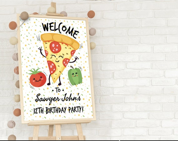 Pizza Party 24x36 Welcome Poster - Pizza Party Welcome Sign | Self-Editing with CORJL - INSTANT DOWNLOAD Printable