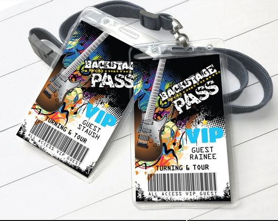 Rockstar Party Backstage Pass - VIP Badge, Party like a Rockstar,Rock n Roll, V.I.P. All Access| Self-Editing with CORJL - INSTANT Download