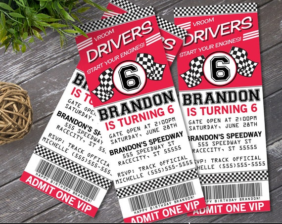 Cars Ticket Invitation - Cars Party, Race Car Party, Cars Invite, Ticket Invite   Self-Edit with CORJL - INSTANT DOWNLOAD Printable Template