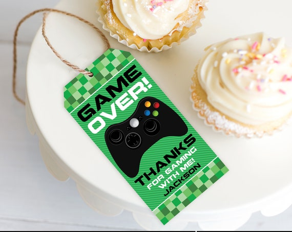 Video Game Favor Tag - Video Game Birthday, Game Truck Party, Video Gamer Party | Self-Editing with CORJL - INSTANT DOWNLOAD Printable