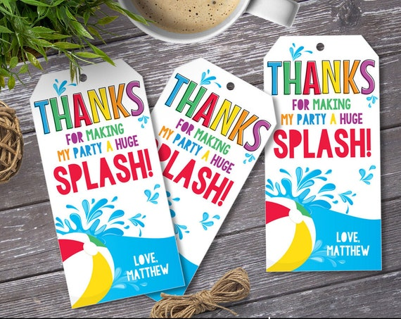 Pool Party Favor Tag - Thank You Tags, Birthday Party Favors, Summer | Self-Edit with CORJL - INSTANT DOWNLOAD Printable
