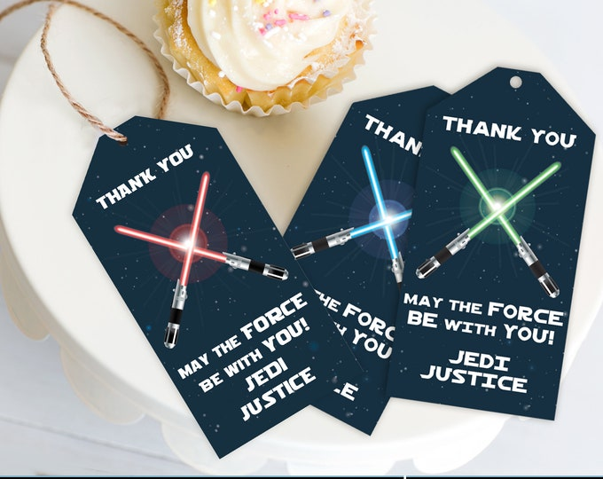 Star Wars Party Favor Tags - Thank You Tags, Birthday Party Favors,Star Wars Birthday   Self-Editing with CORJL - INSTANT DOWNLOAD Printable
