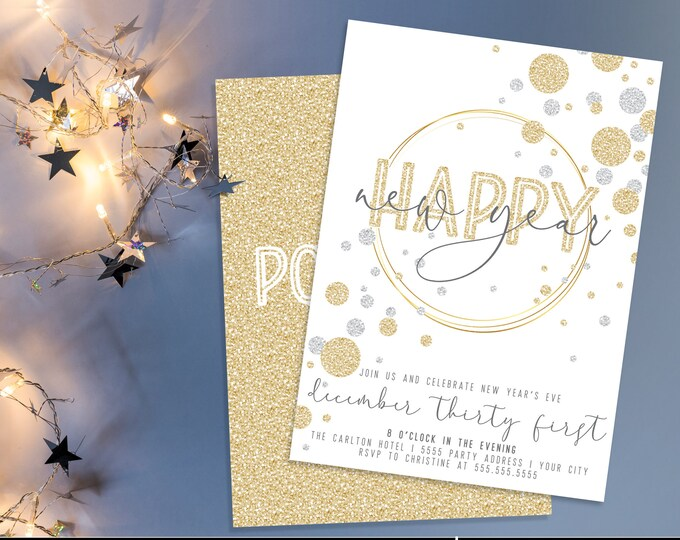 Happy New Year's Invitation - New Year's Eve Party White, Gold & Sliver New Years Invite | Self-Edit with CORJL - INSTANT DOWNLOAD Printable