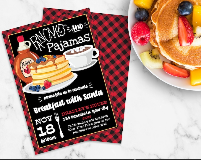 Pancakes & Pajamas Invitation, Breakfast with Santa, Lumberjack Breakfast, Pancake Party | Self-Edit with CORJL - INSTANT DOWNLOAD Printable