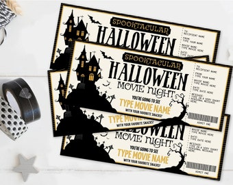 Halloween Movie Night SMALL TICKET Gift Certificate, Small Movie Ticket, Surprise Ticket   Self-Edit with CORJL - Instant Download Printable