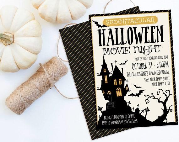 Halloween Movie Night Invitation - Scary Movie Night, Backyard Movie Night   Self-Edit with CORJL - INSTANT DOWNLOAD Printable