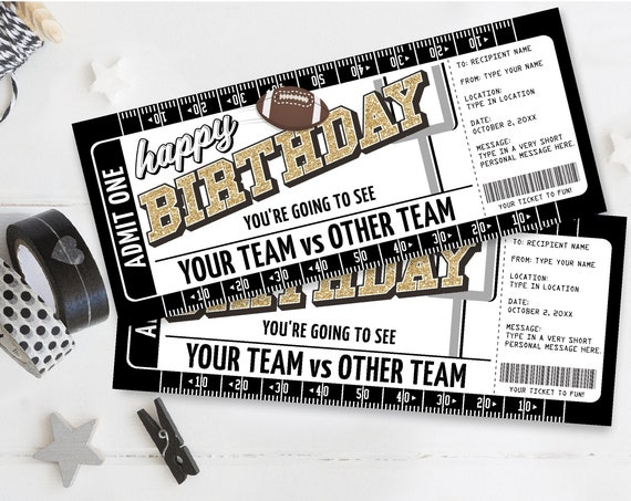 Birthday Football Ticket Gift Editable Template - Surprise Birthday Football Game Ticket | Self-Edit with CORJL - INSTANT DOWNLOAD Printable
