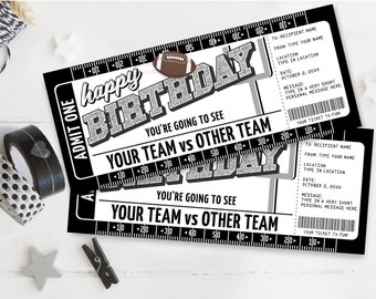 Birthday Football Ticket Gift Editable Template - Surprise Birthday Football Game Ticket   Self-Edit with CORJL - INSTANT DOWNLOAD Printable
