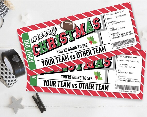 Football Ticket Christmas Gift - Surprise Game Ticket,Printable Gift Voucher Certificate | Self-Edit with CORJL - INSTANT DOWNLOAD Printable
