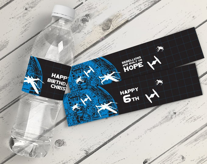 Star Wars Water Bottle Wrappers - Star Wars Birthday Party, Tie Fighter, Bottle Labels | Editable Text - DIY Instant Download PDF Printable