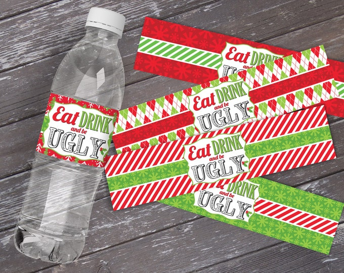 Ugly Sweater Water Bottle Label/Wrap - Ugly Sweater Party, Christmas Party, Office Party | DIY Instant Download PDF Printable