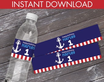 Nautical Water Bottle Label / Wrap - Nautical Party, 1st Birthday, Sailor Party, Nautical Birthday  | DIY Instant Download PDF Printable