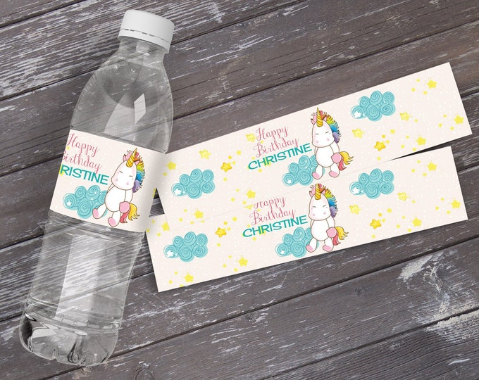 Unicorn Water Bottle Wrap - Unicorn Party, Magical Unicorn Party, Birthday Party, Rainbow   INSTANT Download PDF - Printable