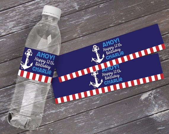 Nautical Water Bottle Label / Wrap - Nautical Party, Sailor Party, Nautical Birthday, Red White Blue  | DIY Instant Download PDF Printable