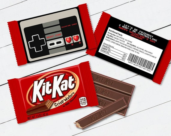 Valentine Video Game Kit Kat Candy Bar Label/Wrapper - Valentine Card, Retro Gamer | Self-Editing with CORJL - INSTANT Download Printable