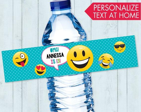 Emoji Party Water Bottle Label / Wrap - Emoji Theme Birthday Party, Emoji Party Decor | Editable Text - Instant Download PDF Printable