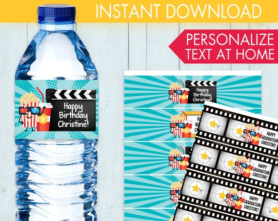 Movie Party Water Bottle Label, Cinema Party, Movie Night Party, Movie Birthday | Editable DIY Instant Download PDF Printable