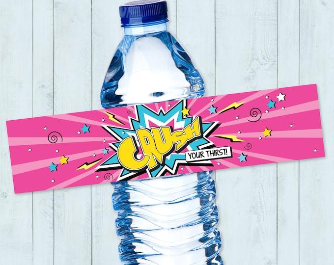 Supergirl / Superhero Water Bottle Label, Supergirl Party, Supergirl Party, Supergirl Birthday | DIY Instant Download PDF Printable