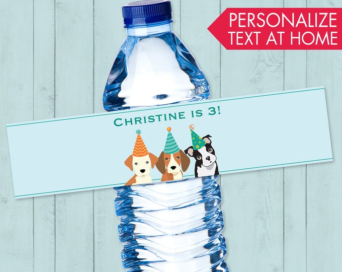 Dog Party Water Bottle Label - Doggie Birthday Party, Doggy, Puppy, First Birthday, Water Bottle Wraps | DIY Instant Download PDF Printable