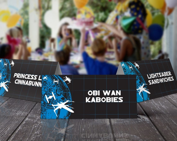 Star Wars Food Labels - Star Wars Birthday Party, Buffet Tags, Table Tents, Tie Fighter | Editable Text - DIY Instant Download PDF Printable