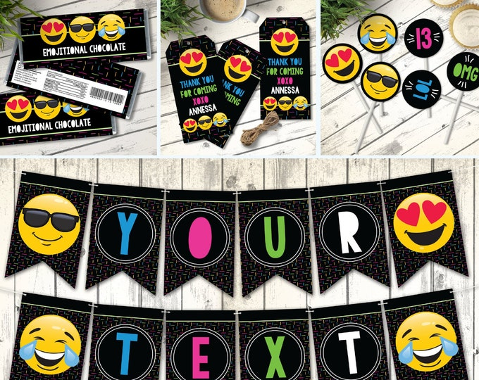 Emoji Party Set - Emoji Decor, Emoji Theme, Emoji Birthday Party  | Editable Text - Instant Download PDF Printable
