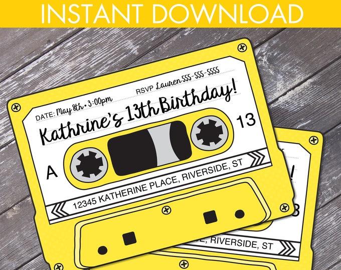 Cassette Tape Invitations - Retro Party, 80s Party Invitation,Mixtape Invite,Yellow | Editable Text - Instant Download DIY Printable PDF Kit