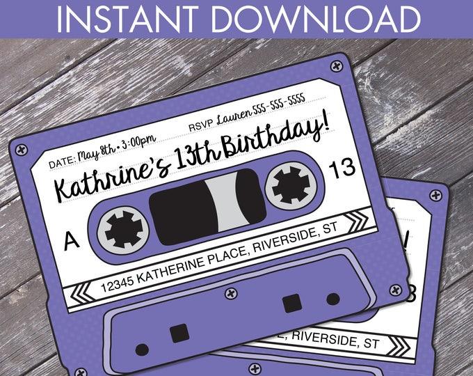 Cassette Tape Invitations - Retro Party, 80s Party Invitation,Mixtape Invite,Purple | Editable Text - Instant Download DIY Printable PDF Kit