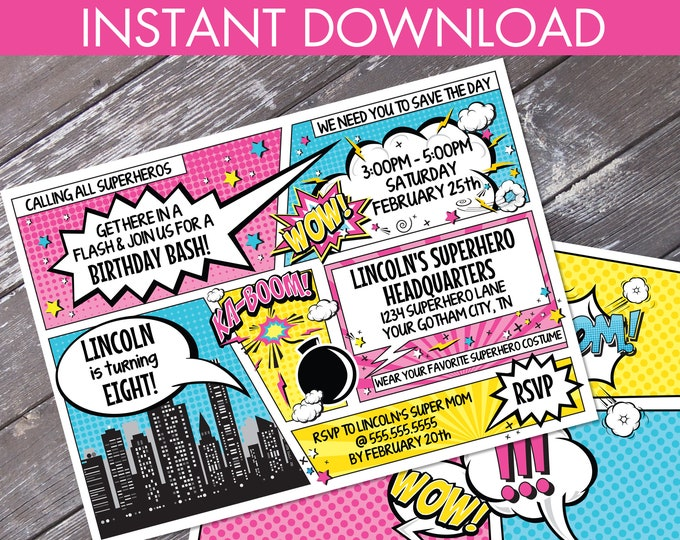 Supergirl Invitation - Supergirl Birthday Party, Comic Book Invitation with Editable Text - DIY INSTANT Download PDF Printable