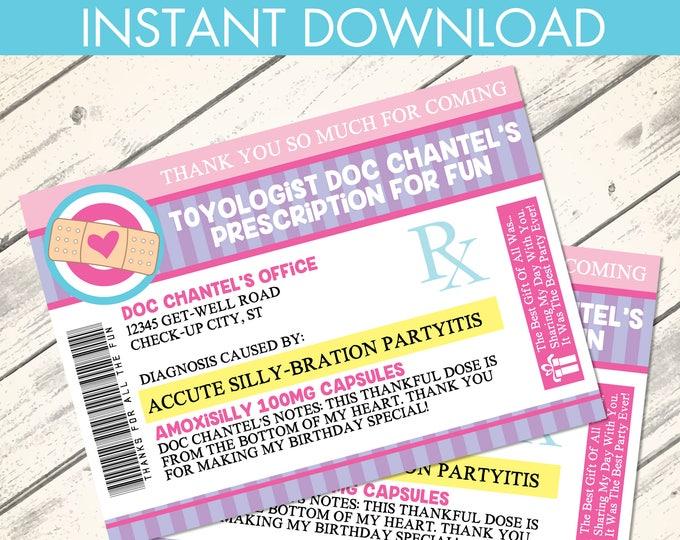 Doc Mc Stuffins Thank You Notes - Prescription Thank You, Doc Birthday, Doctor/Nurse Party | Editable DIY Instant Download PDF Printable