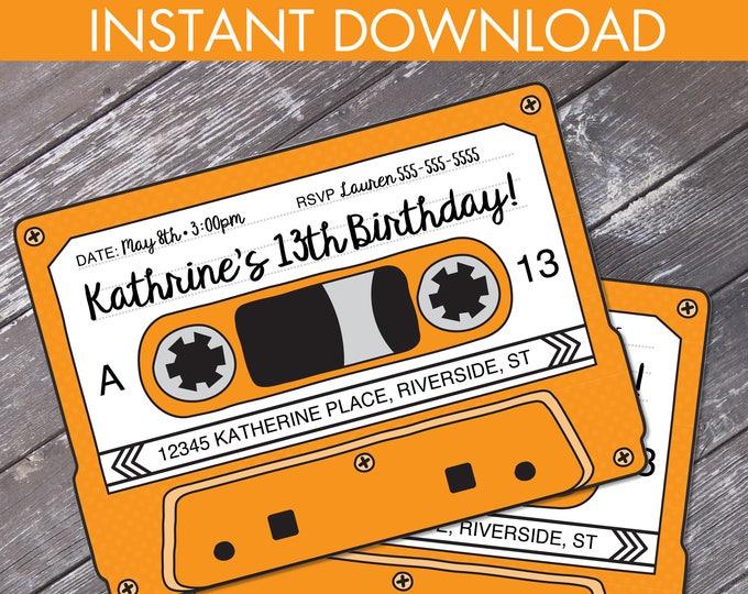 Cassette Tape Invitations - Retro Party, 80s Party Invitation,Mixtape Invite,Orange | Editable Text - Instant Download DIY Printable PDF Kit