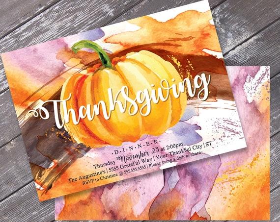 Thanksgiving Dinner Invitation - Thanksgiving Dinner Invite, Thanksgiving, Pumpkin, Editable Text | INSTANT Download Printable PDFs